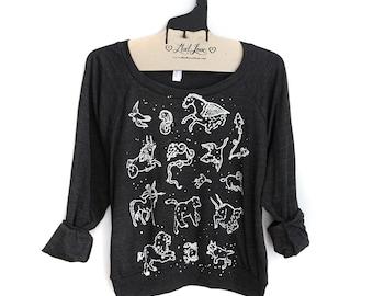 Small- Charcoal Black Tri-Blend Sweatshirt with Animal Constellations Print