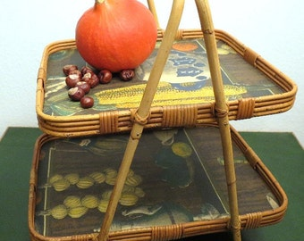 Vintage 50s serving tray tray autumn