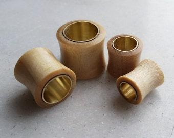 Crocodile wood & Brass metal Handmade Flesh Plugs / Tunnels ** Sizes   12mm / 14mm / 16mm  **