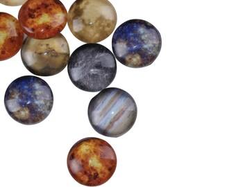 10 Stück Kreis Planeten Sonnensystem Universum Runde Kuppel Dichtungen Fliesen Glascabochons - 10mm (3/8 Zoll)