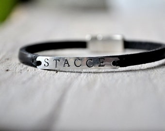 Personalised leather bracelet, aluminium and leather with personalized stamping, Mens and Unisex, leather anniversary gift