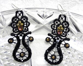 Black party earrings  Multicolor and gold crystal Lace earrings  Lace black chandelier earrings  Party earrings   Black lace earrings