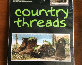 Counted Cross Stitch Kit Country Threads  Frogs In Boots DMC    Fiona Jude FJ 1048