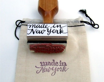 Made in New York Stamp, NY Rubber Stamp, Modern Calligraphy Stamp, Paper Craft Stamp, Shop Packaging Stamp