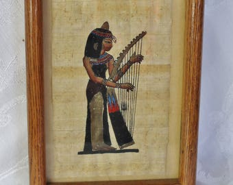 Egyptian Hand Painted Papyrus Artwork - Brown Frame - Harp - Art - Print - Delta Papyrus Factory