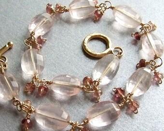 Faceted Rose Quartz Bracelet in Gold with Pink Tourmalines, Pale Pink Bracelet, Handmade Gemstone Bracelet