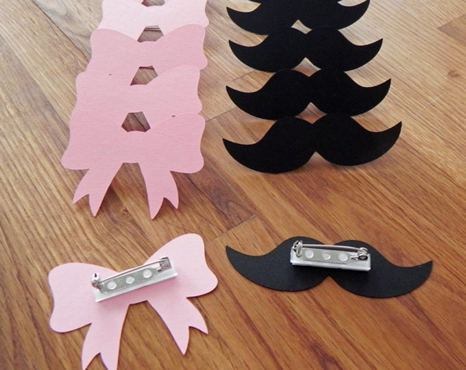 Party Pins: Gender Reveal Baby Shower - Die Cut Pink Girl Bows & Black Boy Mustaches game vote