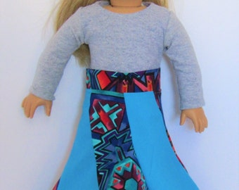 """Aqua Aztec Spiral Skirt made to fit American Girl Doll Clothes 18"""""""