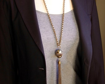 "Brass Tassel long Necklace with Chunky Brass Rolo chain-  30"" long // boho // biker // rocker // Game of Thrones"