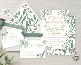 Greenery and Gold Watercolor Wedding Invitation Suite - Leaves Branches - Greenery - Green - Sage - Faustina Suite