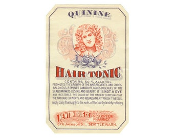 Quinine Hair Tonic Label