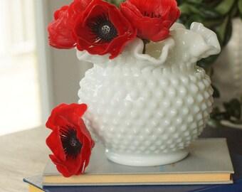 Fenton Hobnail Milk Glass Large Rose Bowl Ruffled