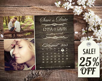 Personalized Save The Date Magnet • Save The Date Card • Save The Date Postcard • Woodgrain Rustic Wedding • Printed