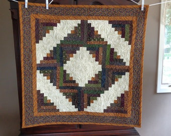Log cabin quilt, scrappy quilt,Country Decorator Quilt 0609-01