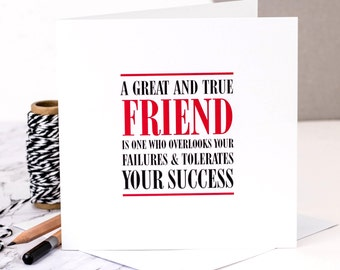 Friendship Card; 'A Great And True Friend'; Card For Friend; GC314