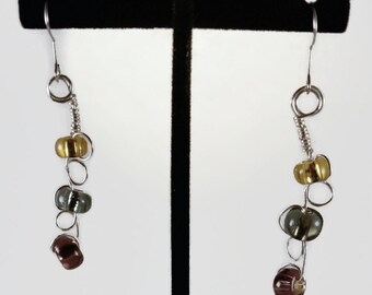 Wire Wrapped Bead Earrings