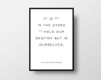 Stars Quote, Destiny Quote, William Shakespeare, Motivational Quote, Shakespeare, Life Quote, Minimalist Art, Inspirational Poster