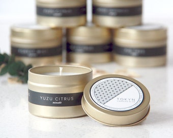 Gold Tin MINABE (Yuzu Citrus) Scented Soy Candle - Gift