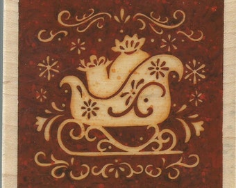 Christmas Sleigh Stamp -- NEW -- Wood Mounted Rubber Stamp --  Inkadinkado --  (#668)