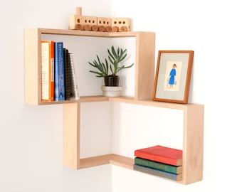 Corner shelf: display cabinet book vintage mid-century unit furniture retro art Danish shadow box modern contemporary wall art book shelves