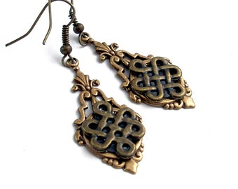 Celtic Bronze Dangle Earrings Jewelry
