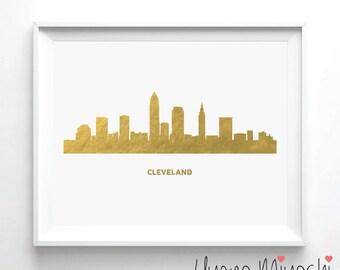 Cleveland Skyline Gold Foil Print, Gold Print, Custom Print in Gold, Art Print, Cleveland City Skyline Gold Foil Art Print