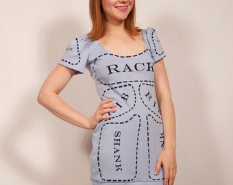 Light Blue Cuts of Meat dress MADE TO ORDER