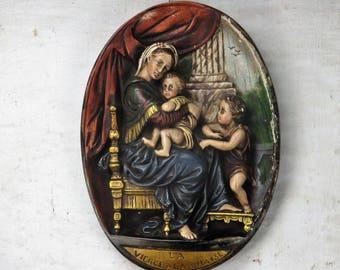 Virgin Mary Madonna Della Sedia Seggiola Plaster Wall Hanging 3D Raphael HTF