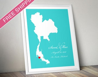 Thailand Poster - Custom Location and Map Print - Personalized Wedding Gift, Wedding Guest Book, Engagement Gift