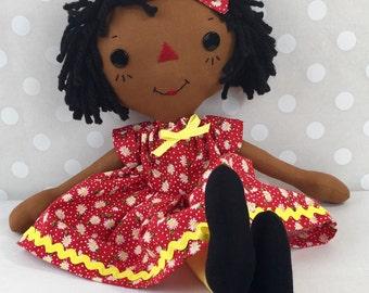 Cinnamon Annie Raggedy Ann Doll - Black Baby Doll - Black Rag Doll - African American Doll  - Birthday Gift for Girls