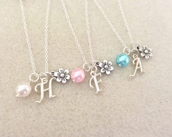 Personalized flower girl necklace with letter bridesmaid gift flower girl gift wedding gift wedding favors bridesmaid proposal