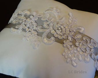 Wedding Ring Bearer Pillow, Custom, White, Ivory, Silver