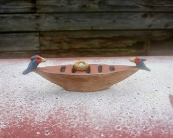 small boat with exotic birds, OOAK hand built stoneware clay sculpture