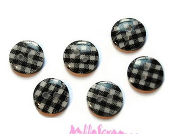 Set of 8 buttons also scrapbooking embellishment black gingham