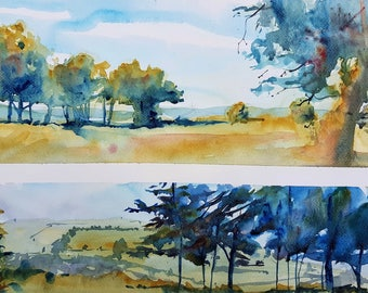 "Original Watercolour Dipitch Painting. ""Rodborough Common"", Stroud, Gloucestershire. Watercolor Landscape"