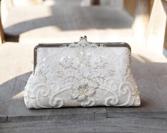 Bridal Chantilly wedding Lace Clutch in Champange, Spring wedding, Vintage inspired , wedding bag, Bridal clutch