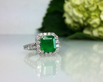 2.5 ctw Emerald & Diamond Engagement Ring in Platinum / Natural Untreated Emerald Halo Engagement / See Video / De Luna Gems / Free Shipping