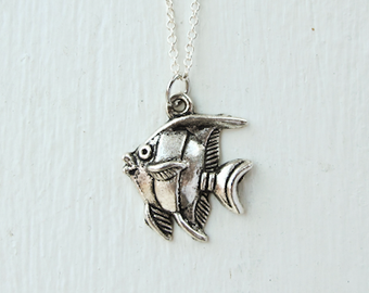 Angel Fish Necklace- Ocean Sea- Angelfish Charm Jewelry- 925 Sterling Silver or Silver Tone Chain