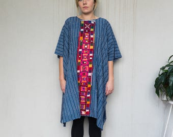 Cotton Block Printed ethnic oversized dress/kaftan/muumuu with hand mirror work emboirdery