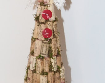 Cork Tree Snow Person Recycled Wine Corks/Christmas Tree Topper/Table Topper