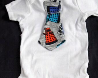 Dr. Who Bodysuit  with Tie, Bodysuit with Tie, Dr. Who Dalek Baby Boy Bodysuit Dr. Who Tie, Newborn Bodysuit with Tie, White Bodysuit tie