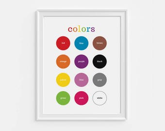Printable colors wall art - 8x10 portrait nursery decor - educational art - fun learning tool