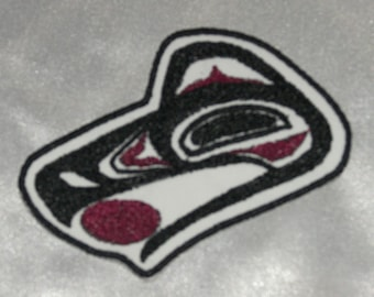 Embroidered Pacific Northwest Art Raven Face Head w/Sun Patch Iron On Sew On USA