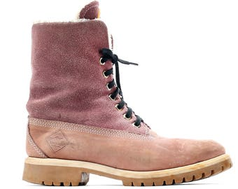 US women 8.5 Suede Chukka Boots 80s Burnt Red Leather Desert Ankle Booties Pink Boots Fur Insulated Platform  EUR 39 UK 6