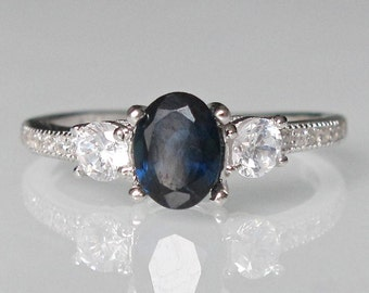 Three Stone Blue Sapphire Ring- Dark Blue Promise Ring- Art Deco Blue Ring- Oval Genuine Sapphire Ring- Three Stone Anniversary Ring