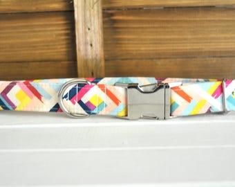 Summer Dog Collar, Colourful, Geometric, Fun, Bright, Pink, Blue, Yellow, Silver Metal Buckle Dog Collar
