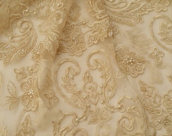 Beige lace fabric, Beaded French Lace fabric, Alencon Lace, Bridal lace, Wedding Lace, Brown Pearl lace, Sequin Lac, Beaded lace EVS156B