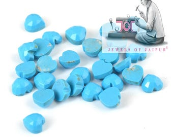 Natural Turquoise Calibrated Size 5mm Rose Cut Heat Top Quality Loose Gemstone Lot For Sale