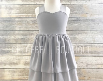Gray formal girls dress - Grey flowergirl dress - Gray chiffon dress - Toddler grey chiffon dress - Silver flowegirl dress
