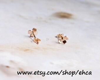 Handmade 5.5mm Dogwood Blossom Gold Post Earrings